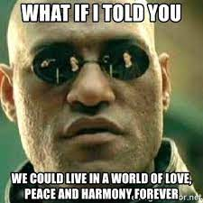 what if i told you we could live in a world of love, peace and harmony  forever - What If I Told You   Meme Generator
