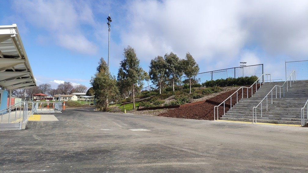 Rear of Gate 2 and pathway toward scoreboard (Ground Southern end).jpg