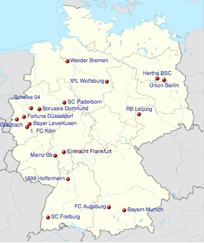 Map of Bundesliga Teams for 2019/20